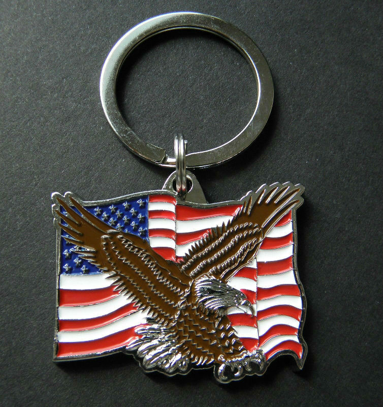 Metal Ring Key Chain KEY CHAINS USA Bald Eagle Bird Head Pewter Metal Emblem