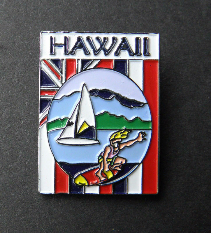 HAWAII US STATE FLAG SCRIPT LAPEL PIN BADGE 1 INCH