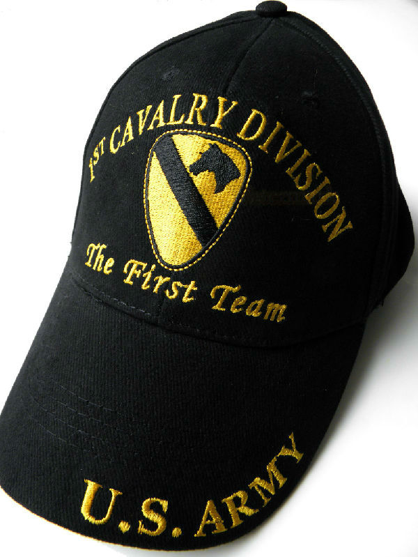 37c9a33e2679f 1St Cavalry The First Team US Army Brass Buckle Embroidered Baseball Cap Hat