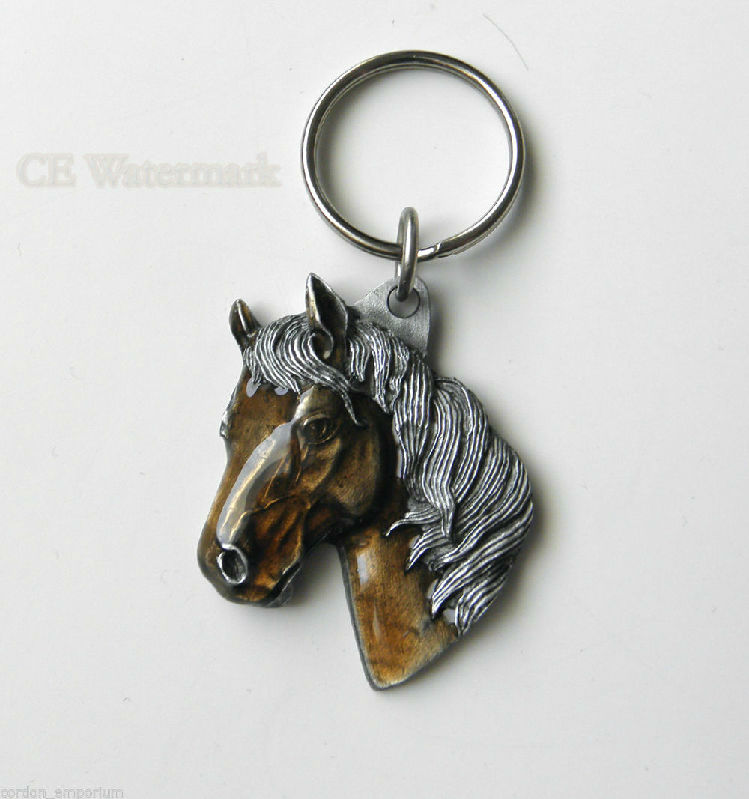 Classic Pewter Horse Head Mane Key Chain Keyring 1.5 Inches  2a15380317bd