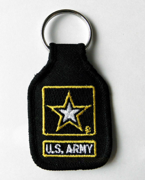 USN US NAVY LOGO EMBROIDERED KEY CHAIN KEY RING 1.75 X 2.75 INCHES