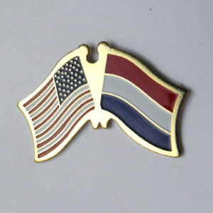 Holland Netherlands Country World USA Combo Flag Lapel Pin Badge 1 Inch