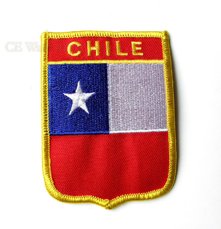 Quality embroidered chile world flag emblem shield patch