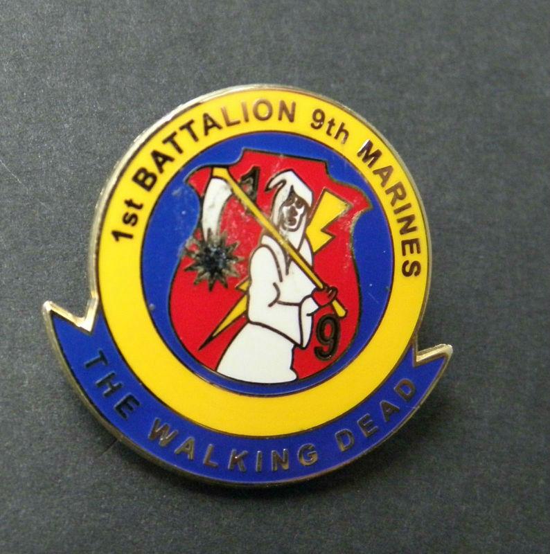 1St Battalion 9Th Marines USMC Walking Dead Marine Corps Lapel Pin Badge 1  Inch
