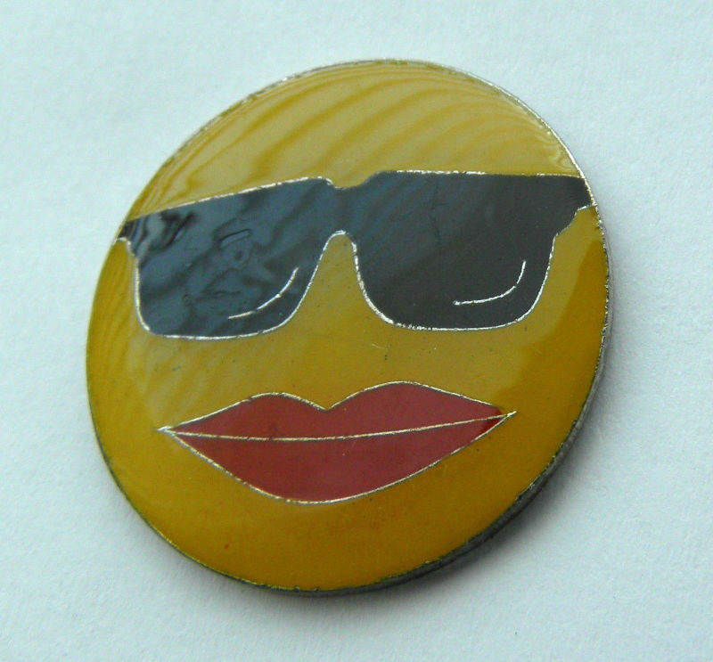 smiley face sunglasses cool shades smile happy emoji lapel pin badge 1 inch