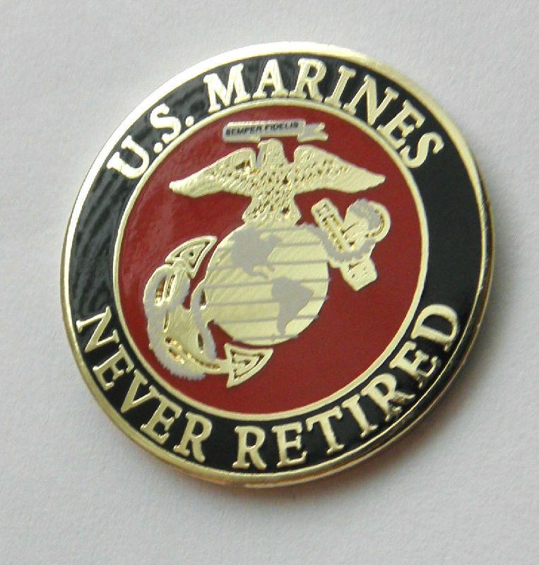 a7248e932f3 US Marines USMC Marine Corps Never Retired Lapel Pin Badge 1 Inch ...