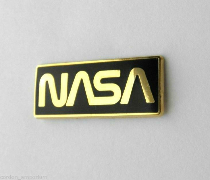 Us Nasa Black And Gold Color Logo Space Agency Lapel Pin Badge 1 25 X 1 2 Inches