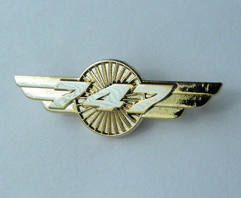 Boeing 747 Pilot Wings Gold Colored Aircraft Plane Lapel Pin Badge 1.5  Inches