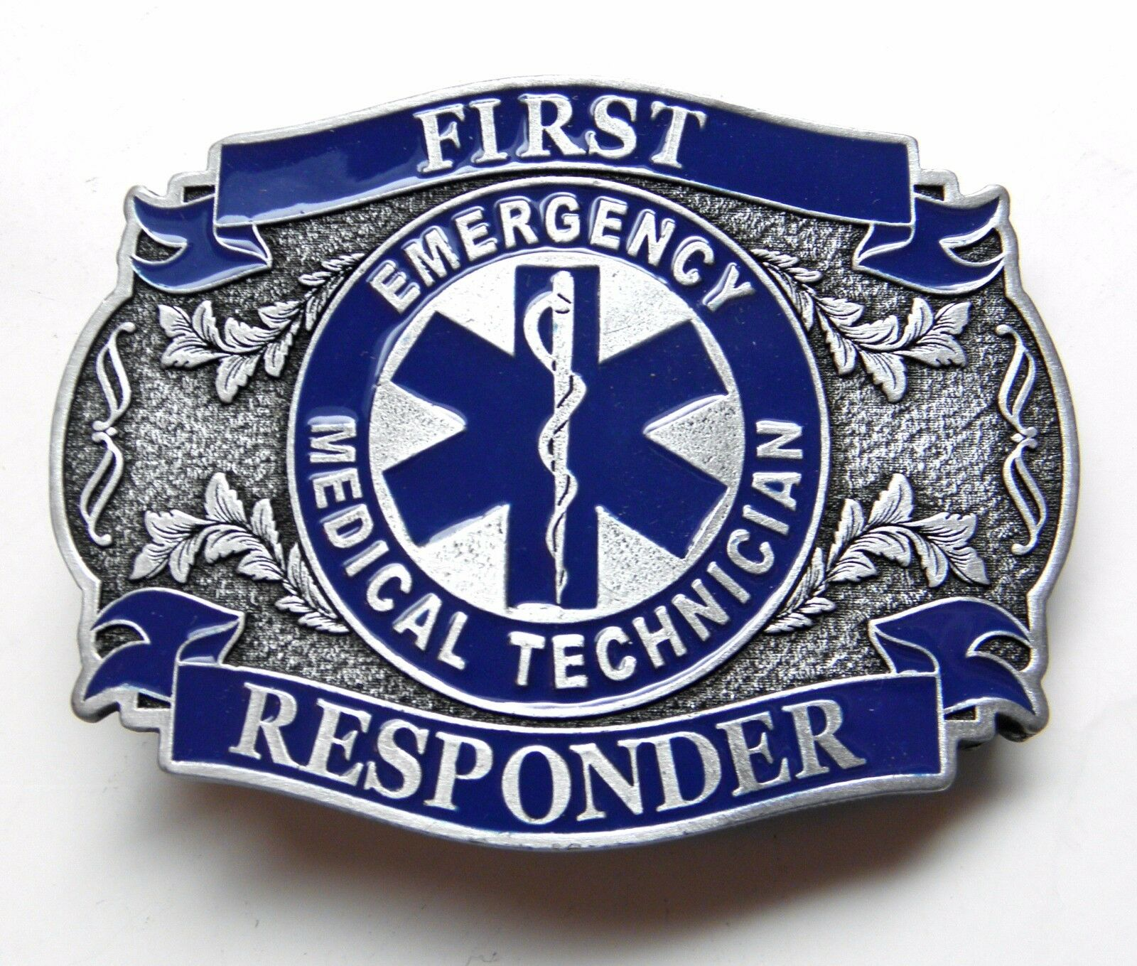 EMS FIRST RESPONDER BELT BUCKLE 3.2 INCHES EMERGENCY MEDICAL SERVICES MADE IN US